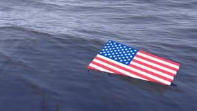 Bandiera americana che annega nel concetto di crisi dell'oceano Fotografia Stock