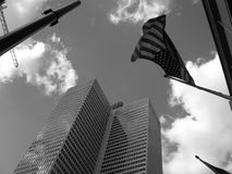 Bandiera americana in cielo Immagini Stock Libere da Diritti