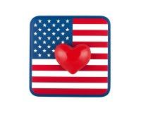 Bandiera americana con cuore Immagini Stock
