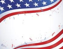 Bandiera americana con i coriandoli Immagine Stock Libera da Diritti