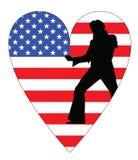 Bandiera americana con i elvis Fotografia Stock