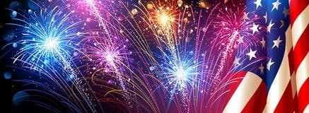 Bandiera americana con i fuochi d'artificio Vettore Fotografie Stock