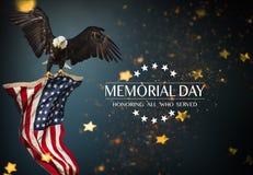 Bandiera americana con il Giorno dei Caduti del testo Immagini Stock Libere da Diritti