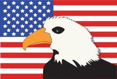 Bandiera americana con l'aquila calva Fotografia Stock Libera da Diritti