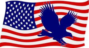 Bandiera americana con l'aquila calva Fotografia Stock