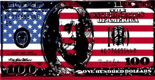 Bandiera americana con la fattura del dollaro 100 Immagini Stock
