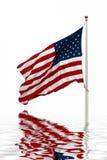Bandiera americana con la riflessione Fotografie Stock