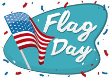Bandiera americana d'ondeggiamento con i coriandoli per commemorare giorno della bandiera, illustrazione di vettore Fotografia Stock