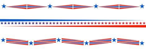 Bandiera americana degli S.U.A. del divisore patriottico del confine illustrazione di stock
