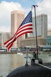 Bandiera americana degli Stati Uniti sul sommergibile del Torsk di USS Fotografia Stock