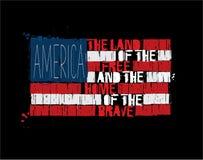 Bandiera americana del testo - terra dell'America della casa libera del coraggioso Fotografie Stock Libere da Diritti