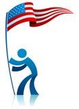 Bandiera americana della holding Fotografia Stock Libera da Diritti