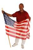 Bandiera americana della holding dell'uomo dell'afroamericano Fotografia Stock Libera da Diritti