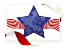Bandiera americana della stella, biglietti da visita con il nastro Fotografie Stock
