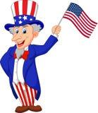 Bandiera americana della tenuta del fumetto di zio Sam Immagini Stock