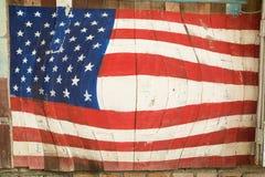 Bandiera americana di progettazione su fondo di legno Fotografia Stock Libera da Diritti