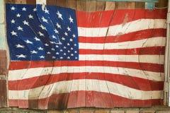 Bandiera americana di progettazione su fondo di legno Immagini Stock Libere da Diritti