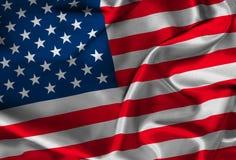 Bandiera americana di seta Fotografia Stock
