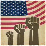 Bandiera americana di simbolo di indipendenza del pugno vecchia Fotografia Stock