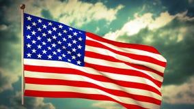 Bandiera americana di U.S.A. che ondeggia su un cielo nuvoloso blu illustrazione vettoriale