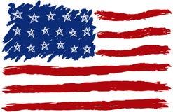 Bandiera americana disegnata a mano Fotografie Stock Libere da Diritti