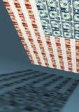 Bandiera americana, dollaro, economia Fotografia Stock