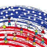 Bandiera americana e bambini stilizzati Immagini Stock Libere da Diritti