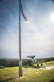 Bandiera americana e cannone a Barrancas forte immagini stock libere da diritti