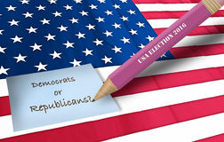 Bandiera americana e noi elezione Fotografia Stock