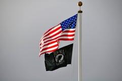 Bandiera americana e POW-MIA fotografia stock libera da diritti