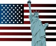 Bandiera americana e statua della libertà Fotografie Stock