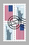 Bandiera americana e statua della libertà sul francobollo Fotografie Stock