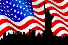 Bandiera americana e statua di libertà. Fotografia Stock