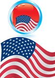 Bandiera americana e tasto lucido Fotografia Stock Libera da Diritti