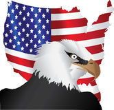 Bandiera americana ed aquila Fotografia Stock