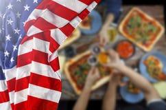 Bandiera americana, festa dell'indipendenza, barbecue, celebrazione, all'aperto Fotografie Stock