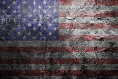 Bandiera americana Grungy su una parete Fotografia Stock Libera da Diritti