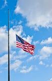 Bandiera americana mezza del personale Fotografia Stock Libera da Diritti