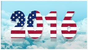 Bandiera americana 2016 nel cielo illustrazione vettoriale