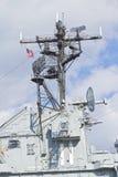 Bandiera americana sopra una nave immagini stock libere da diritti