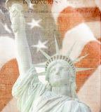 Bandiera americana, statua di libertà, costituzione Fotografie Stock