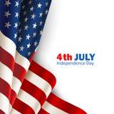 Bandiera americana su bianco Immagini Stock Libere da Diritti