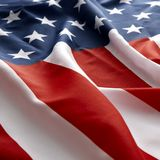 Bandiera americana su fondo rosso Fotografie Stock