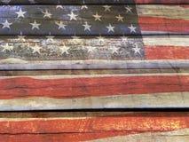 Bandiera americana su legno Fotografia Stock