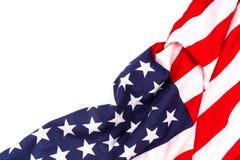 Bandiera americana su priorità bassa bianca fotografie stock libere da diritti