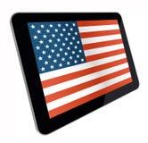 Bandiera americana sul computer della compressa Immagine Stock Libera da Diritti