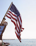 Bandiera americana sulla barca Fotografia Stock Libera da Diritti