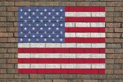 Bandiera americana sulla parete Fotografia Stock