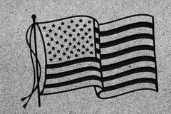 Bandiera americana sulla pietra tombale di pietra Fotografie Stock Libere da Diritti