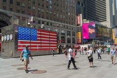 Bandiera americana in Times Square Fotografie Stock Libere da Diritti